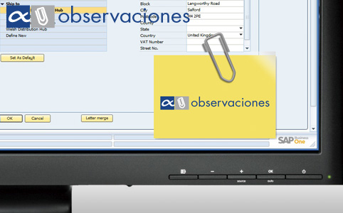 Módulo Observaciones para SAP Business One